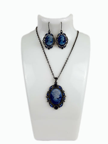 Rhodium Plated Tarnish Resistant Rhinestone Blue Cameo Lady Pendant Set - R&M BOUTIQUE