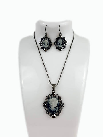 Tarnish Resistant Gray Cameo Lady Pendant Set - R&M BOUTIQUE