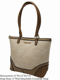 Beige Vegan Leather Shoulder Bag - R&M BOUTIQUE
