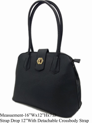 Black Vegan Leather Shoulder Bag - R&M BOUTIQUE