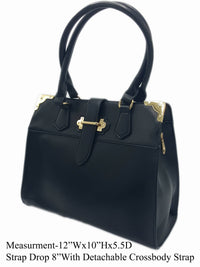 Manmade Leather Black Shoulder Bag - R&M BOUTIQUE