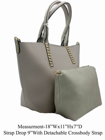 Manmade Leather Gray Shoulder Bag - R&M BOUTIQUE