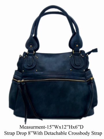 Manmade Leather Navy Shoulder Bag - R&M BOUTIQUE
