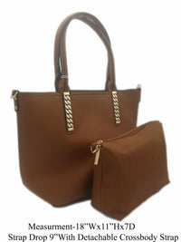 Manmade Leather Tan Shoulder Bag - R&M BOUTIQUE