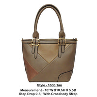 Vegan Leather Tan Shoulder Bag - R&M BOUTIQUE
