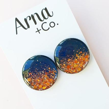 NAVY AND ROSE GOLD STATEMENT STUDS