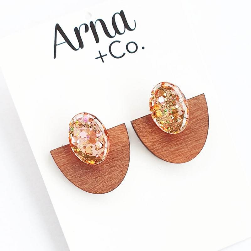 ATLANTIS STATEMENT STUDS - TIMBER AND ROSE GOLD