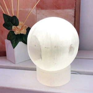Selenite Sphere Lamp
