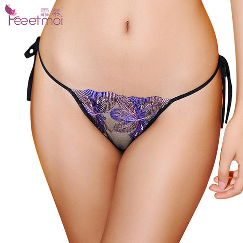 Tie G String Sexy Lace Embroidery Thong