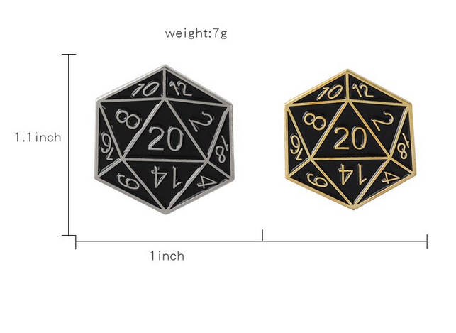 D20 Dice - D&D Dice Brooch Pin - RPG Dice Pin
