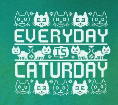 Every Day Is Caturday - Christmas Sweater Style T-Shirt (Mens)