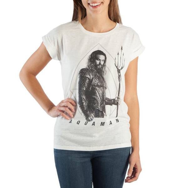 Aquaman T-shirt With Jason Momoa - Rolled Sleeve Women's Tee