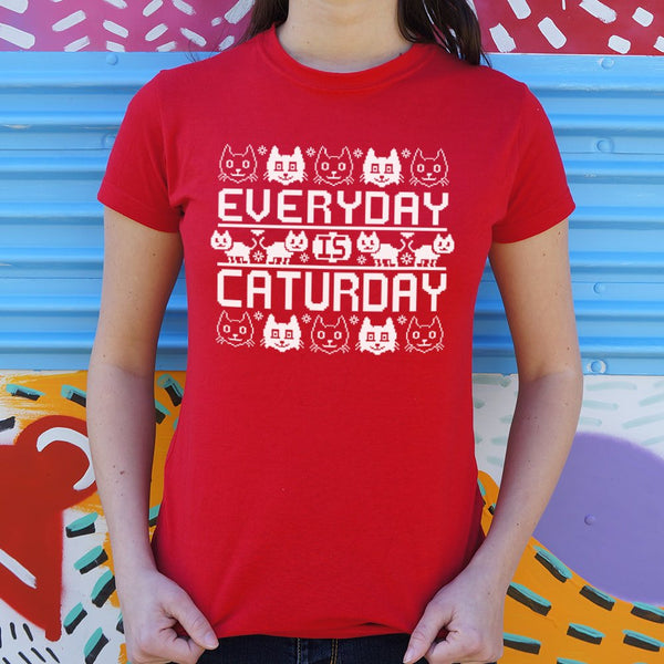 Every Day Is Caturday - Christmas Sweater Style T-Shirt (Womens)