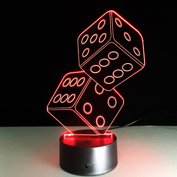 Pair Of Dice - 7-Color LED Desk Lamp