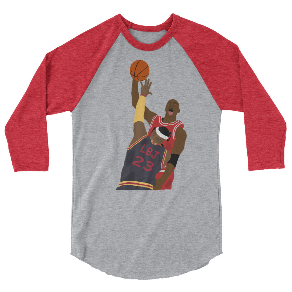 MJ Dunks On LBJ 3/4 sleeve raglan shirt