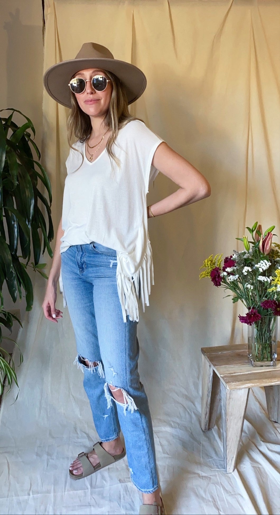 Fringe V-Neck Top