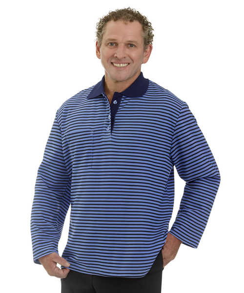 SMA - 3XL Adaptive Polo Shirt For Men - Fits Up To 4 Xl - Open Back Clothes - Long Sleeve Open Back Shirt - Disabled Adults