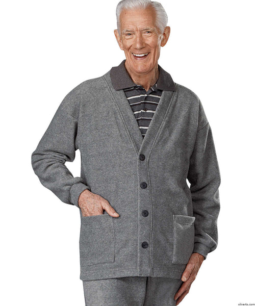 SMA - 3XL Adaptive Clothing For Men - Adaptive Fleece Cardigan With 2 Pockets - Snap Back