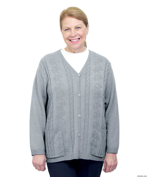 SMA - 3XL Adaptive Open Back Warm Weight Cardigan Sweater With Pockets