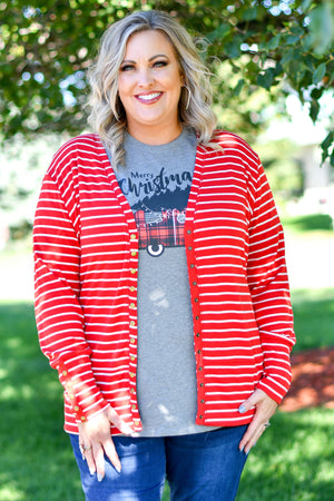 Red & White Striped Snap Cardigan
