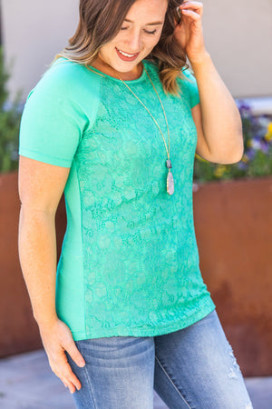 IN STOCK Lace Front Tee - Mint