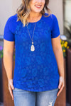 IN STOCK Lace Front Tee - Blue