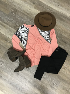 Sassy Safari Coral Long Sleeve