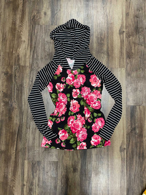 Black Floral with Stripe Lightweight Raglan Hoodie