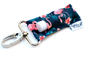 Navy with Coral Flamingos Lippy Clip