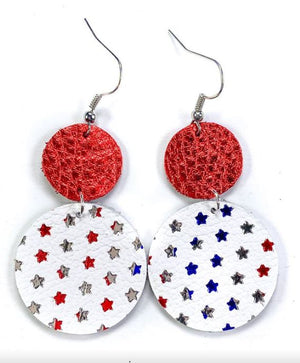 Patriotic Stars Hand Cut Leather Earrings