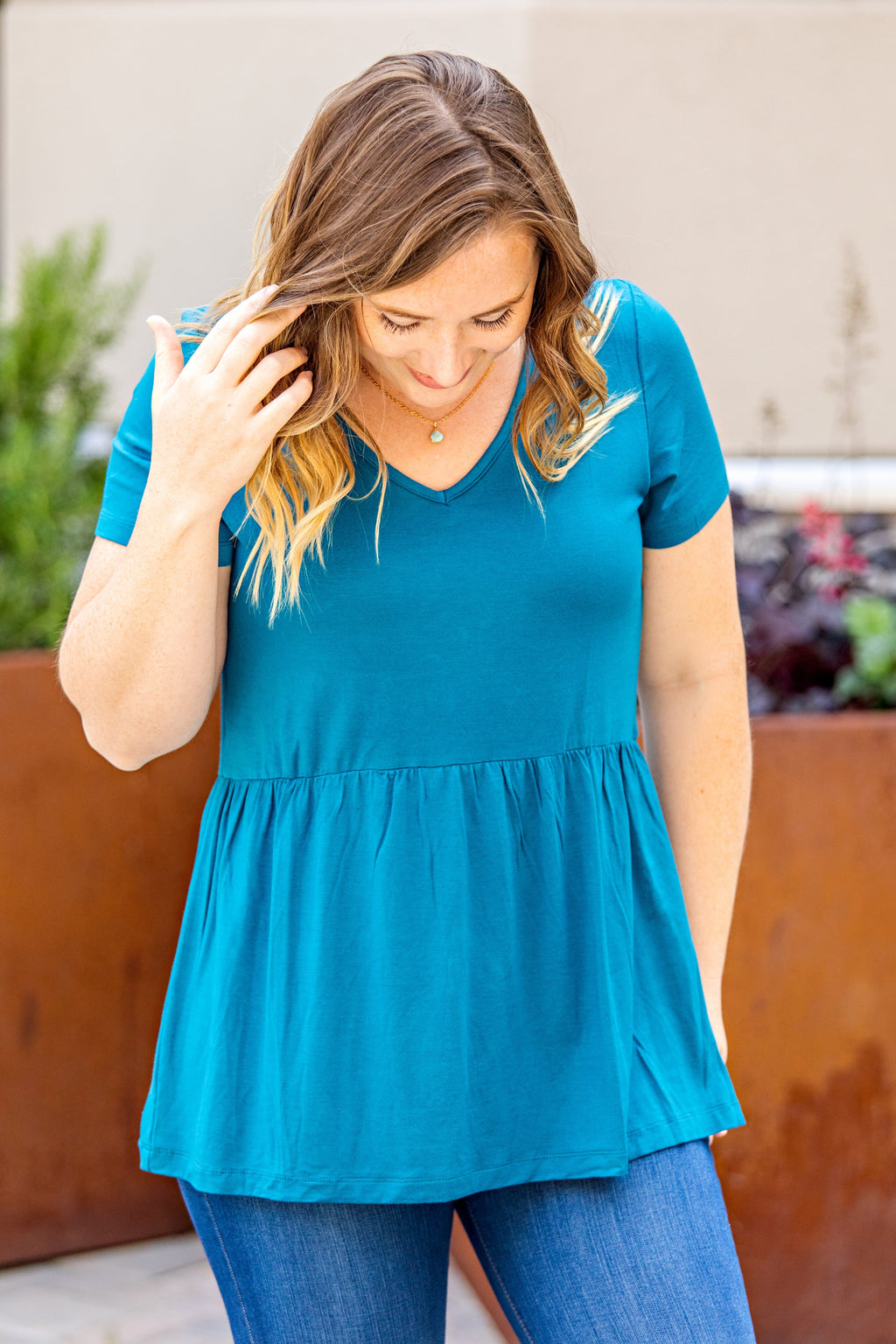 IN STOCK Classic Ruffle V-Neck - Teal Blue