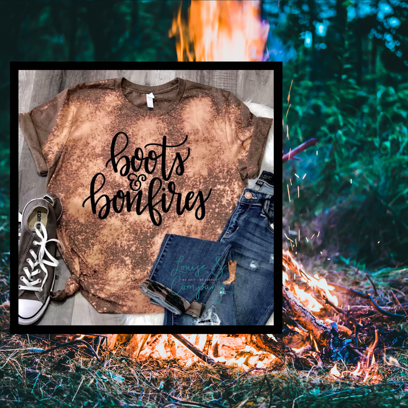 Boots and Bonfire Distressed Glam Tee