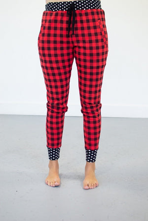 Buffalo Plaid & Polka Dot Joggers