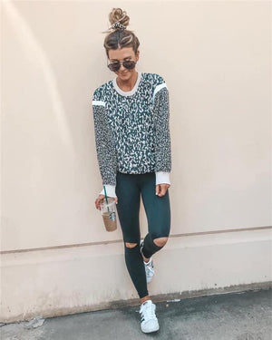 White Leopard Glam Pullover