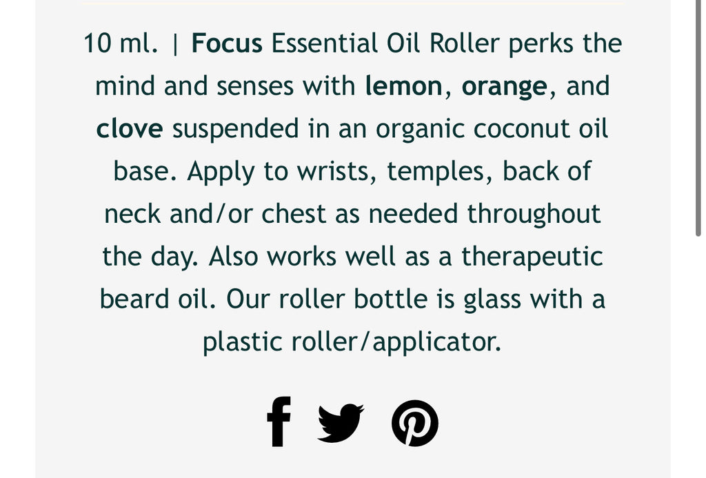 The Focus Essential Oil Roller