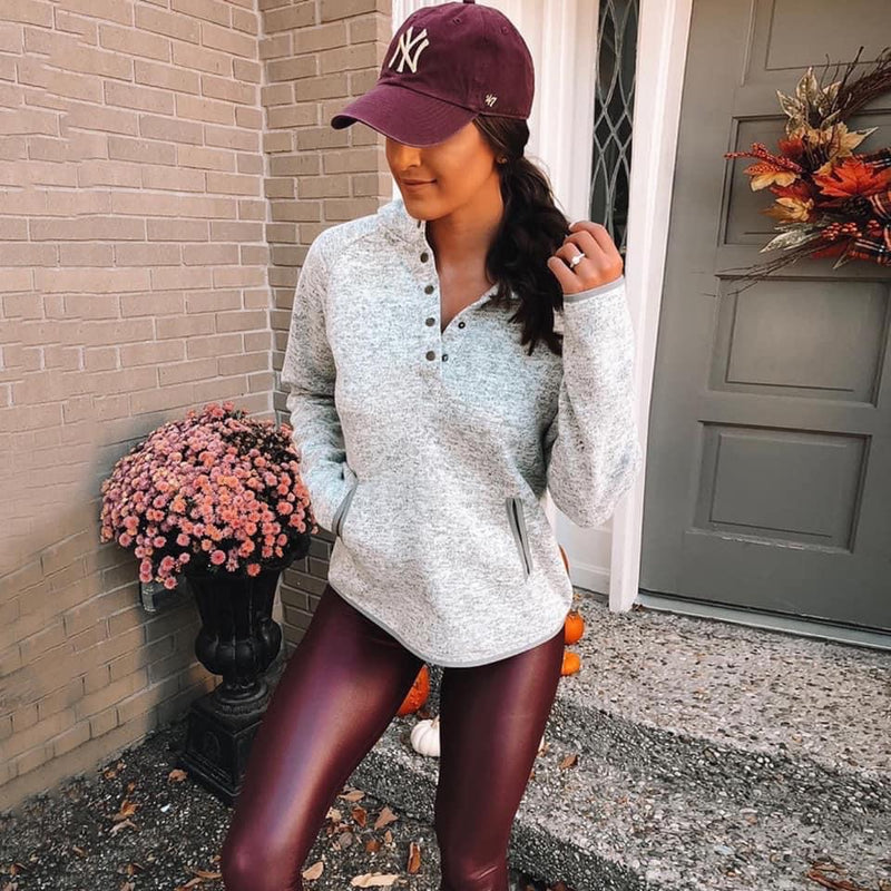 Wine Liquid Leather Leggings