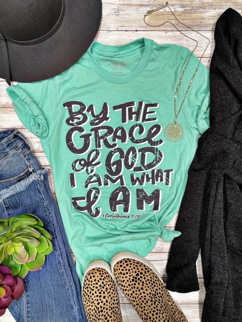 By the Grace of God I am What I Am Mint Tee Shirt - PRE ORDER