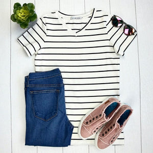Classic V-Neck Tee - White with Black Stripes