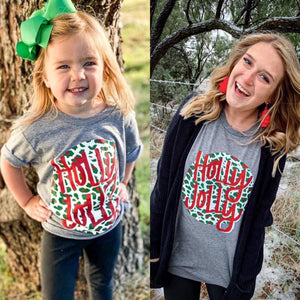 Leopard Holly Jolly Mom & Me Tees