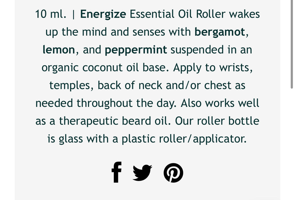 The Energize Essential Oil Roller