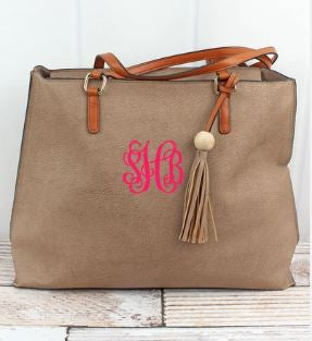 Taupe Grey Monogram Tassel Bag