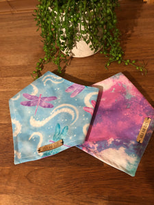 Reversible Dog Bandana- Magical Dragon fly dog bandanas