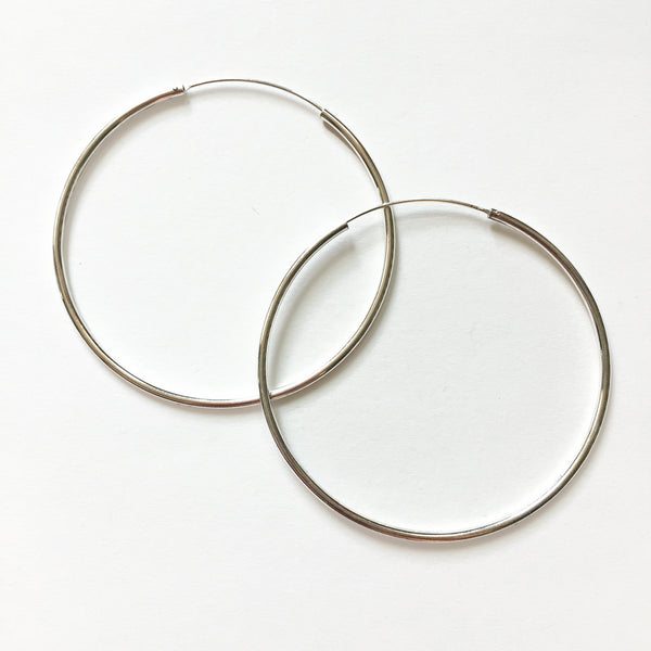 SILVER HOOPS - LARGE - ORO ORO Chains & Charms