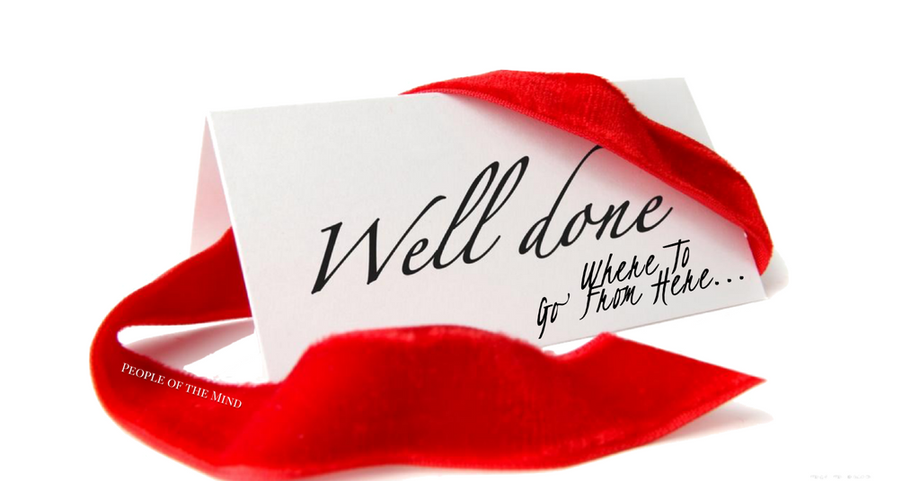 Well Done & Where To Go From Here www.ShopPeopleoftheMind.com  white invitation with those words written on it and a red, velvet ribbon around it
