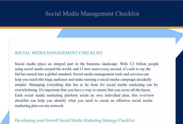 Social Media Management Checklist at www.ShopPeopleoftheMind.com