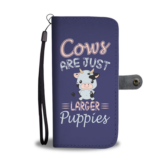 Larger Puppies Wallet Phone Case - Cow