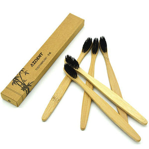 5pcs Ultra Soft Bamboo Toothbrush charcoal - XoEndowed.com