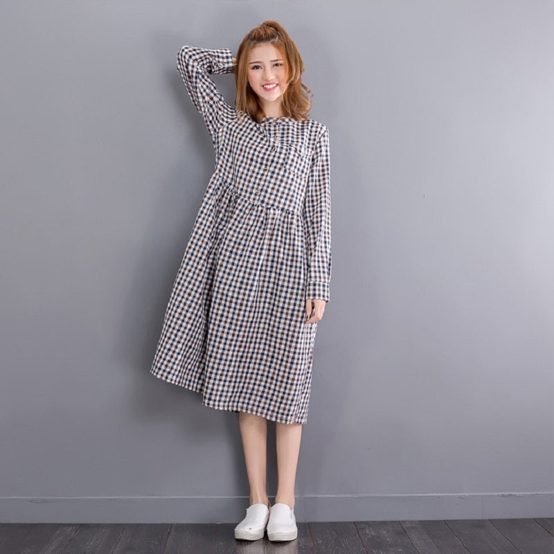 Mori Girl Autumn Spring Midi Women Dress Sweet Round Neck Plaid Cotton Linen Femme Robe Vestidos Long Sleeve Casual Loose Dress