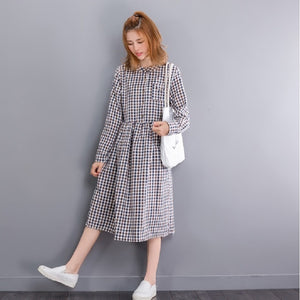 Sweet Round Neck Gingham Dress