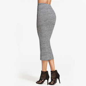 Heather Grey Ribbed Knit Pencil Skirt